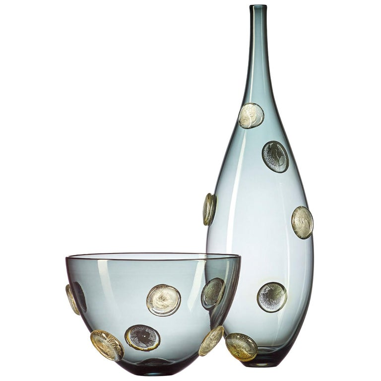 Grey Hand Blown Glass Designer Statement Bowl with Luxe Silver Dots, Vetro Vero For Sale