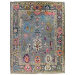 Contemporary Oushak Grey Wool Area Rug