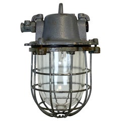 Grey Industrial Cast Iron Cage Pendant Light, 1960s
