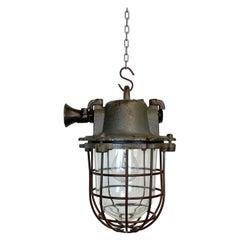 Grey Industrial Cast Iron Cage Pendant Light, 1960s