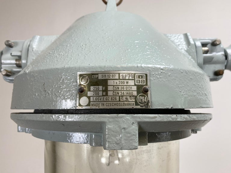 Czech Grey Industrial Explosion Proof Lamp, 1970s For Sale