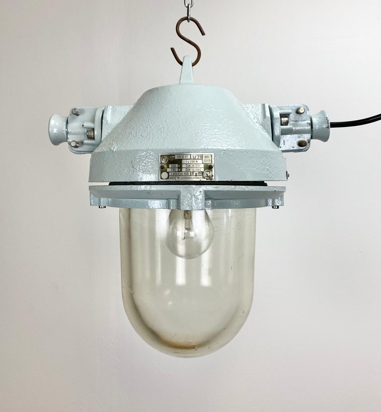 Cast Grey Industrial Explosion Proof Lamp, 1970s For Sale
