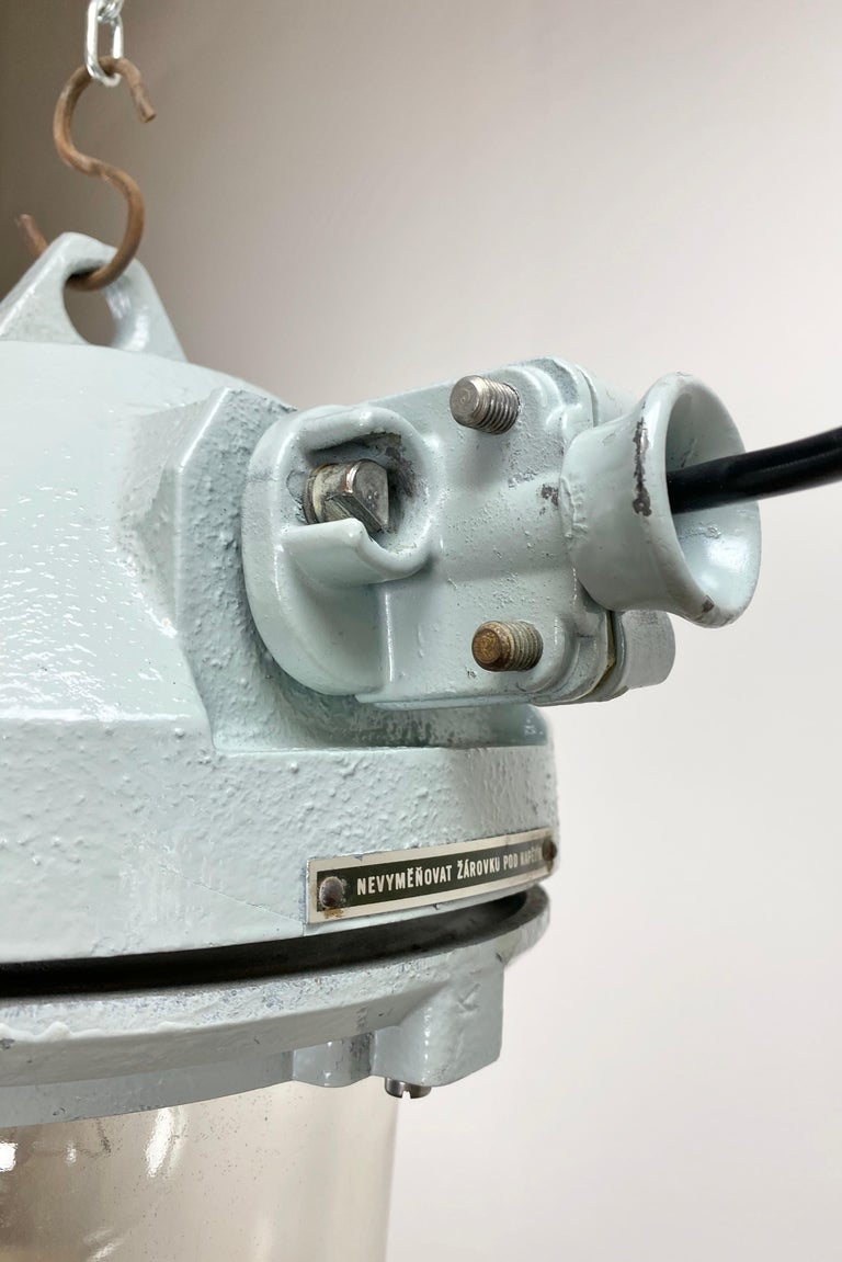 Late 20th Century Grey Industrial Explosion Proof Lamp, 1970s For Sale