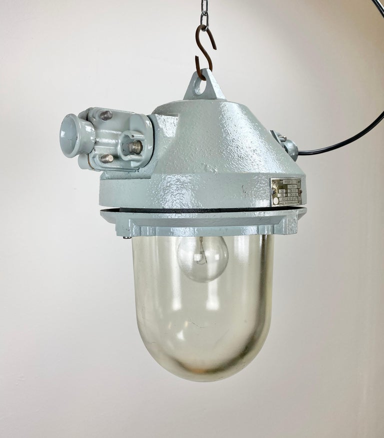 Aluminum Grey Industrial Explosion Proof Lamp, 1970s For Sale