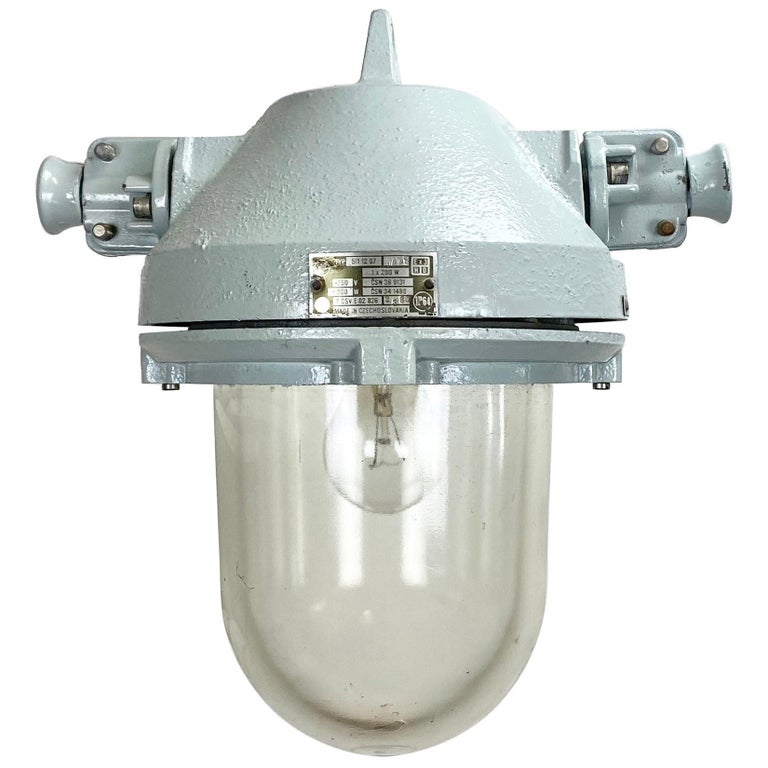 Grey Industrial Explosion Proof Lamp, 1970s For Sale