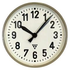 Grey Industrial Factory Wall Clock from Pragotron, 1950s