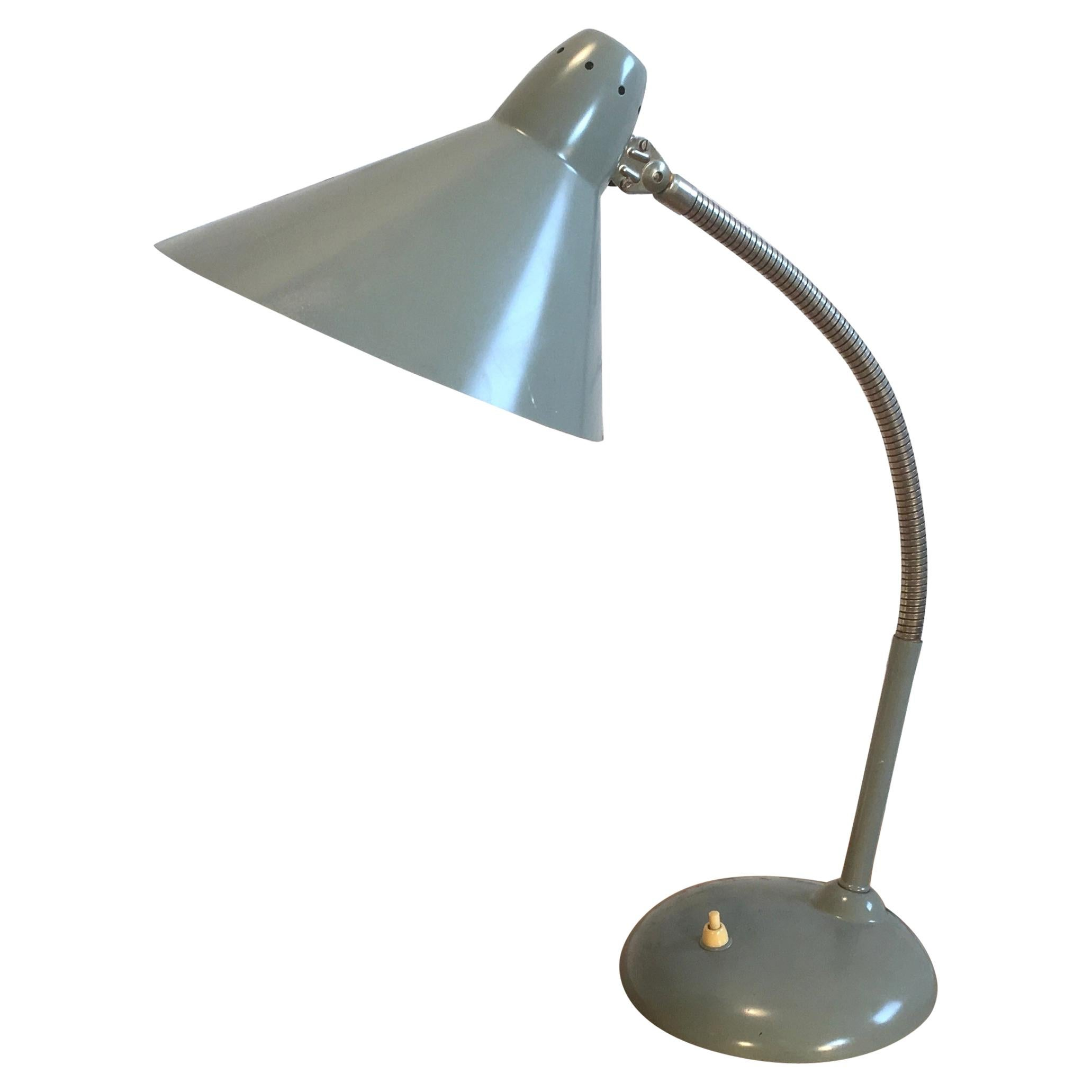 Grey Industrial Gooseneck Table Lamp From Hala, 1960s For Sale