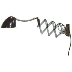 Grey Industrial Scissor Wall Lamp, 1960s
