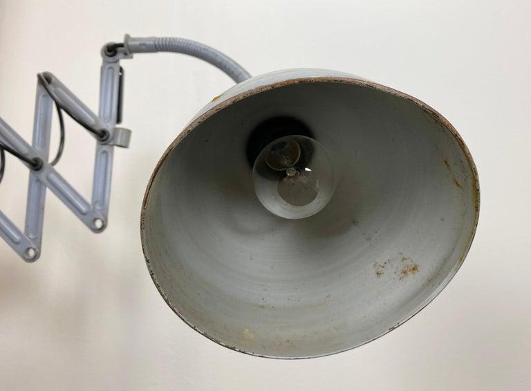 Grey Industrial Scissor Wall Lamp from Elektroinstala, 1960s For Sale 3