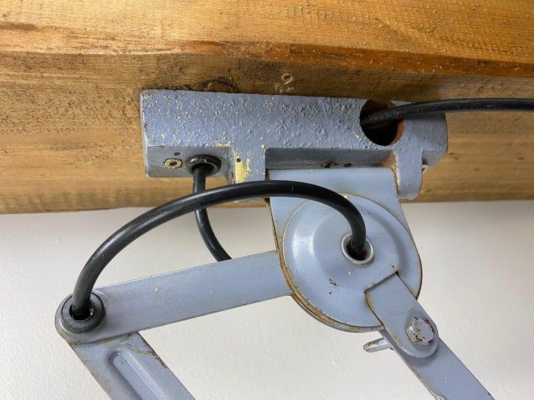 Painted Grey Industrial Scissor Wall Lamp from Elektroinstala, 1960s For Sale