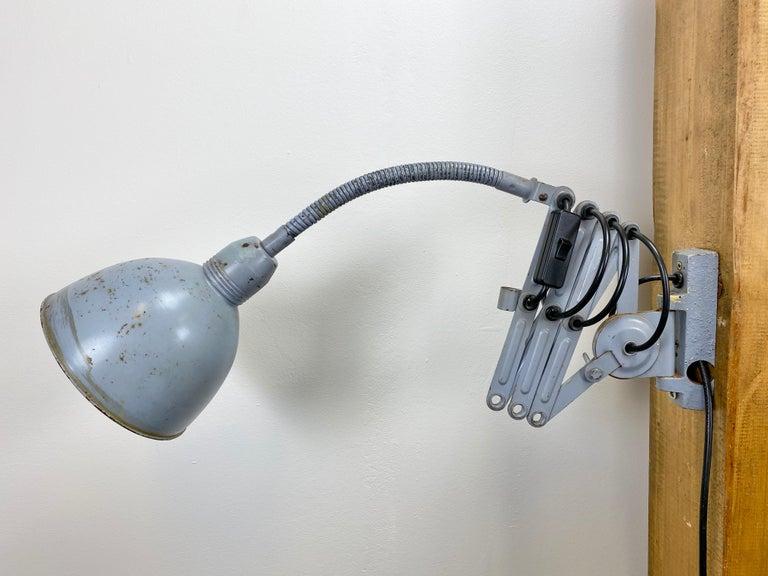 Mid-20th Century Grey Industrial Scissor Wall Lamp from Elektroinstala, 1960s For Sale