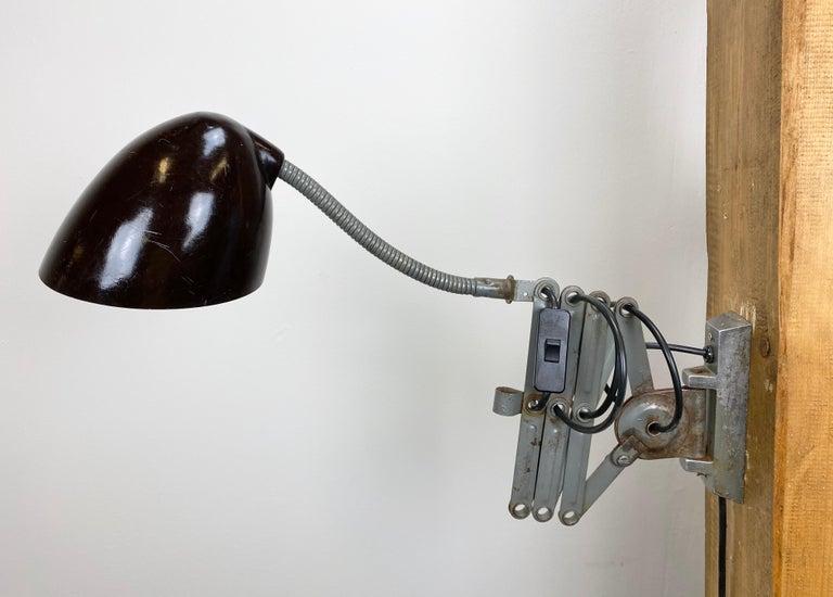 Iron Grey Industrial Scissor Wall Lamp from Elektroinstala, 1960s For Sale