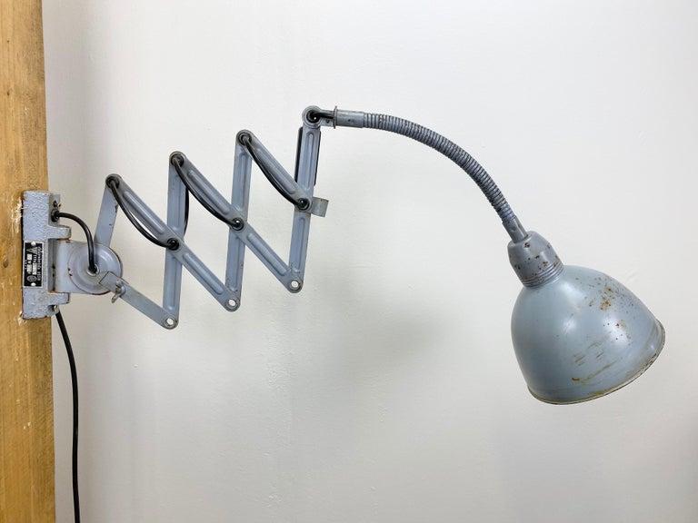 Grey Industrial Scissor Wall Lamp from Elektroinstala, 1960s For Sale 1