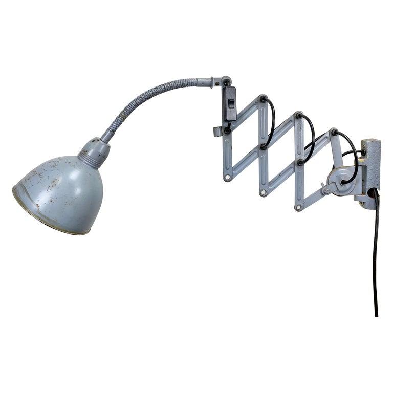 Grey Industrial Scissor Wall Lamp from Elektroinstala, 1960s For Sale