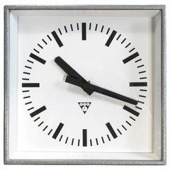 Grey Industrial Square Pragotron Wall Clocks, 1970s
