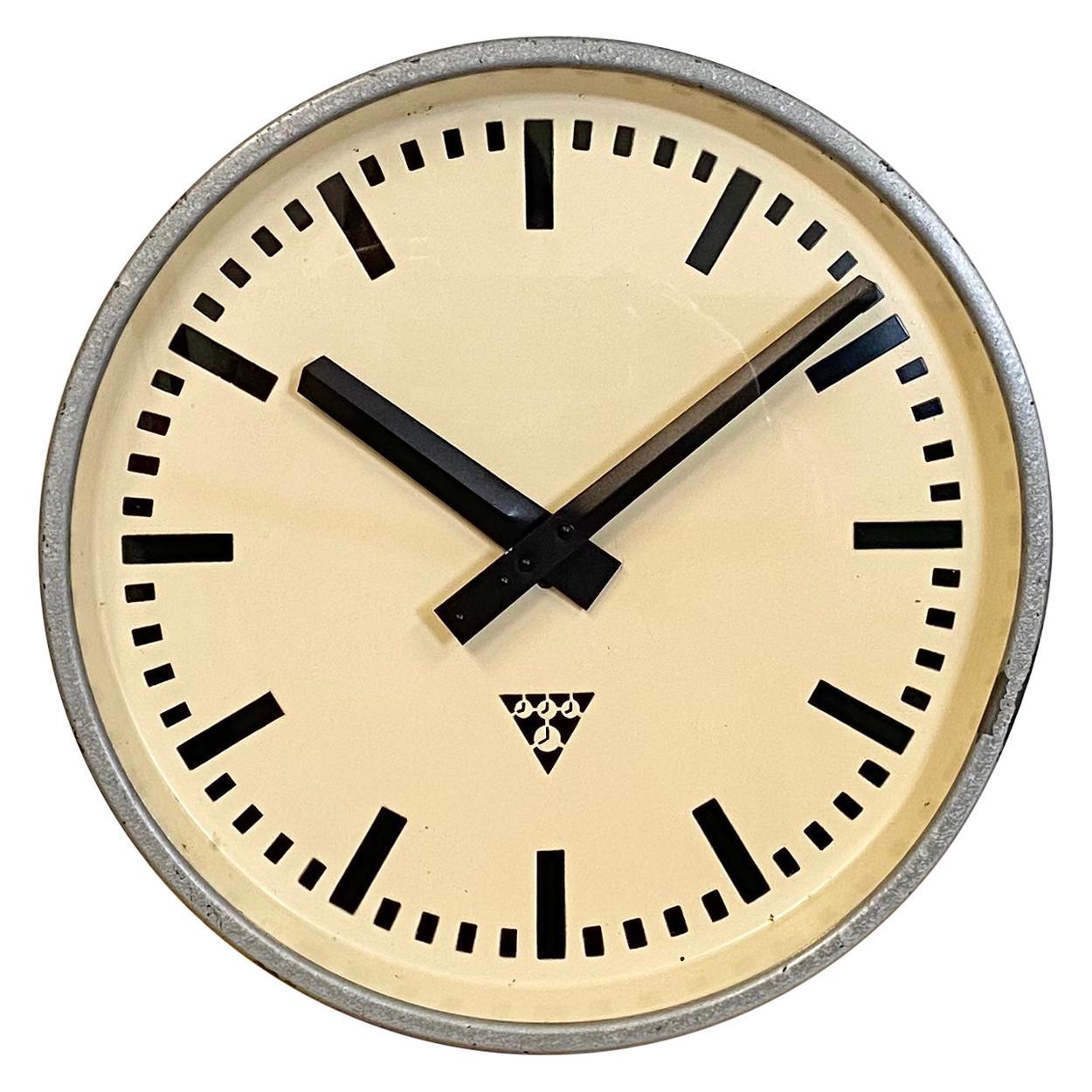 Grey Industrial Wall Clock from Pragotron, 1960s