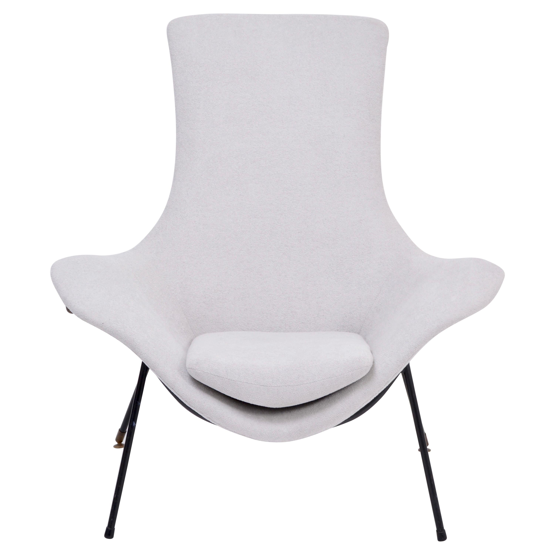 Grey Italian Mid-Century Modern Lounge Chair by Augusto Bozzi for Saporiti