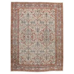 Grey, Ivory, & Red Early 20th Century Handmade Persian Tabriz Room Size Carpet