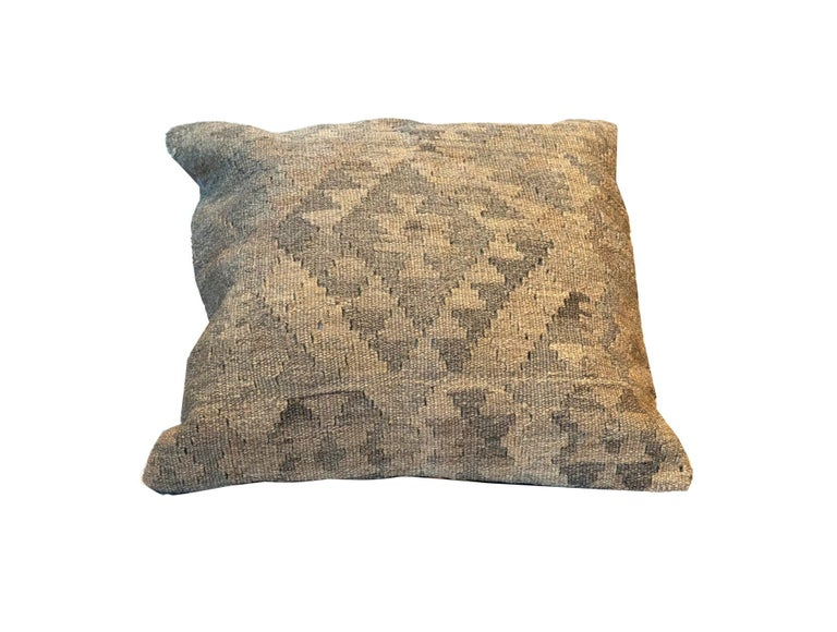 Afghan Grey Kilim Decorative Pillow Bench Cushion Cover Hand Knotted Zipper Pillow Case For Sale