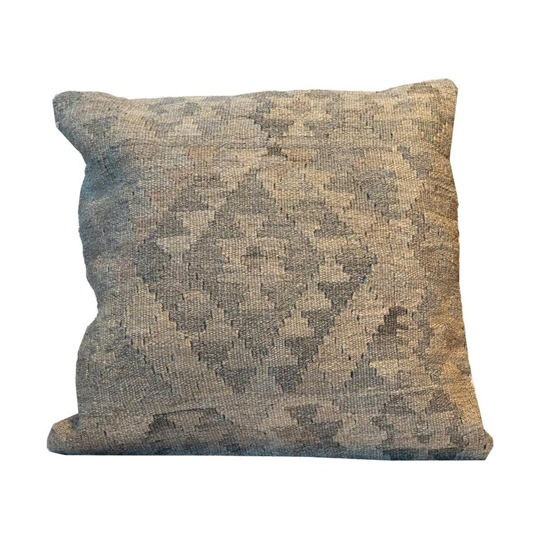 Grey Kilim Decorative Pillow Bench Cushion Cover Hand Knotted Zipper Pillow Case For Sale