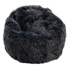 Grey Large Sheepskin Bean Bag Chair,  Australian Sheepskin - Made in Australia