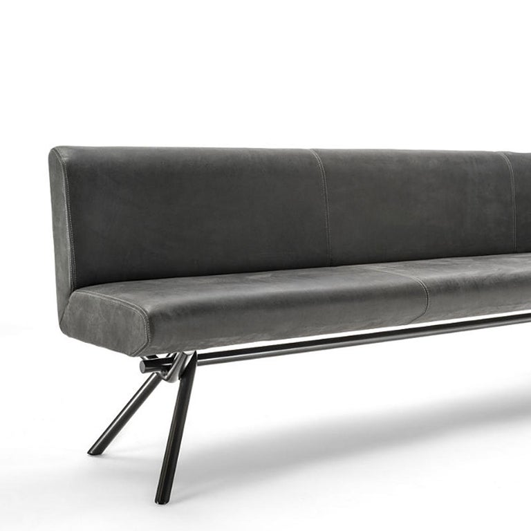 Contemporary Grey Leather Bench For Sale