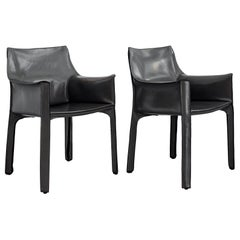 "Grey Leather ""Cab"" Armchairs by Mario Bellini for Cassina"
