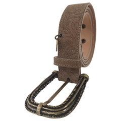Grey leather suede belt NWOT