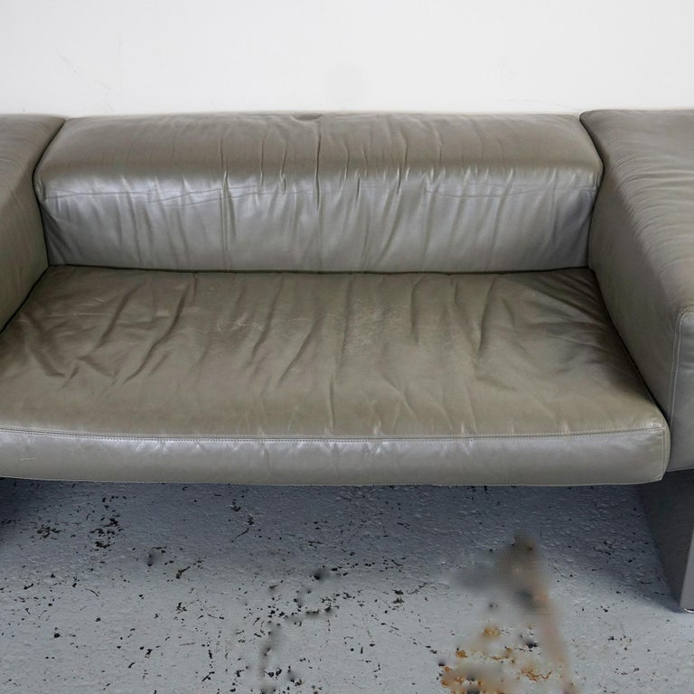 Lacquered Grey Leather Two-Seat Sofa Brigadier by Cini Boeri for Knoll For Sale