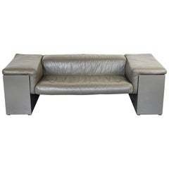 Grey Leather Two-Seat Sofa Brigadier by Cini Boeri for Knoll