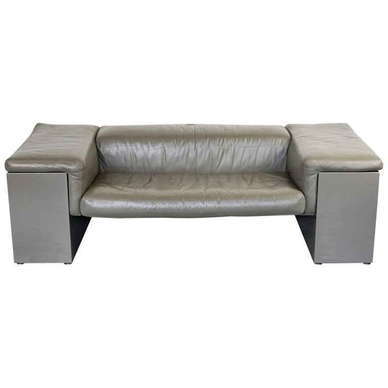 Grey Leather Two-Seat Sofa Brigadier by Cini Boeri for Knoll For Sale