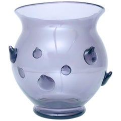 Grey / Lilac Blown Murano Glass Vase with Bugne, Italy, 1980s