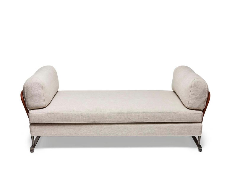 Mid-Century Modern Grey Linen and Leather Maker's Daybed by Lawson-Fenning For Sale