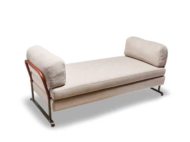 American Grey Linen and Leather Maker's Daybed by Lawson-Fenning For Sale