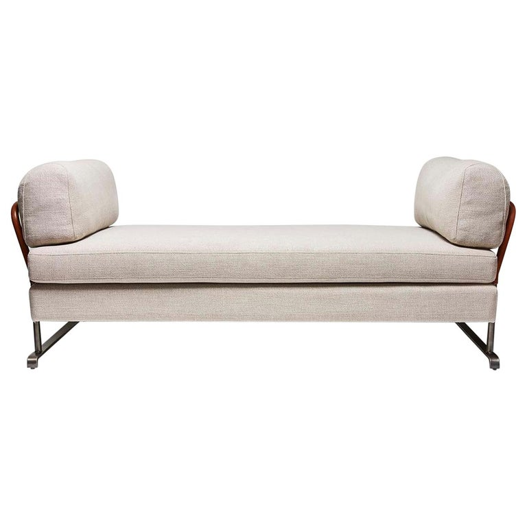 Grey Linen and Leather Maker's Daybed by Lawson-Fenning For Sale