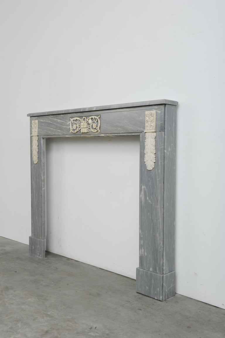 Grey Marble Louis XVI Fireplace Mantel For Sale 5