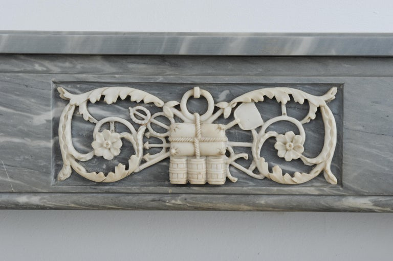 Grey Marble Louis XVI Fireplace Mantel For Sale 7