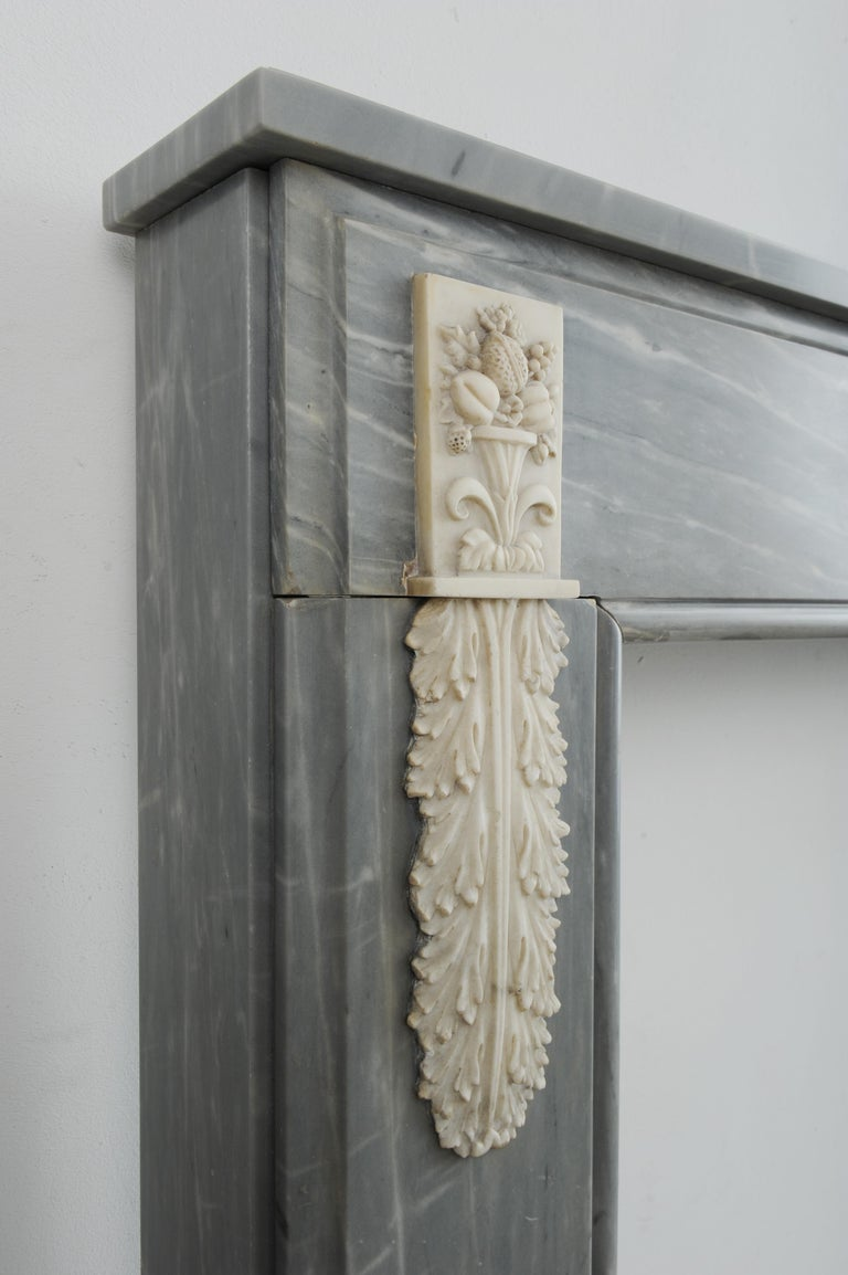 Grey Marble Louis XVI Fireplace Mantel For Sale 8