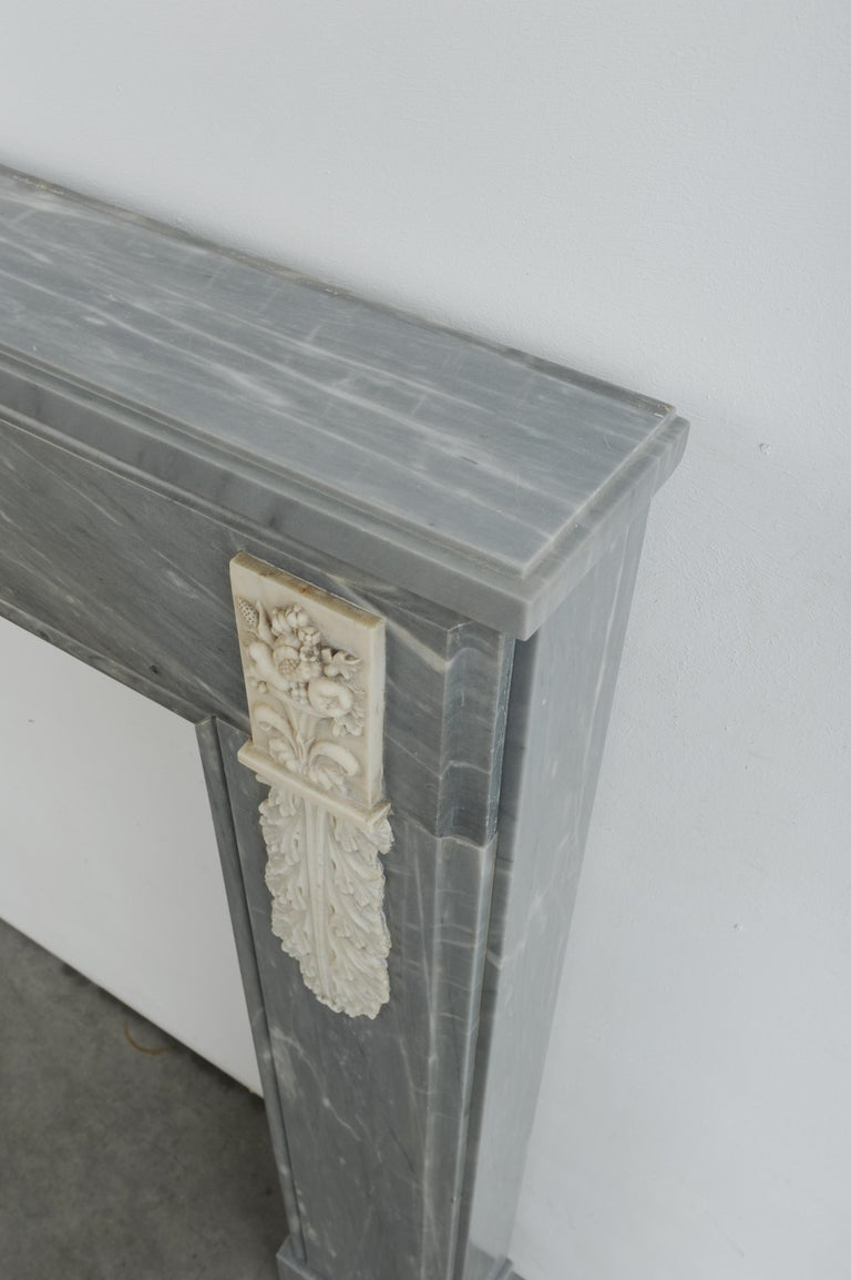 Grey Marble Louis XVI Fireplace Mantel For Sale 9