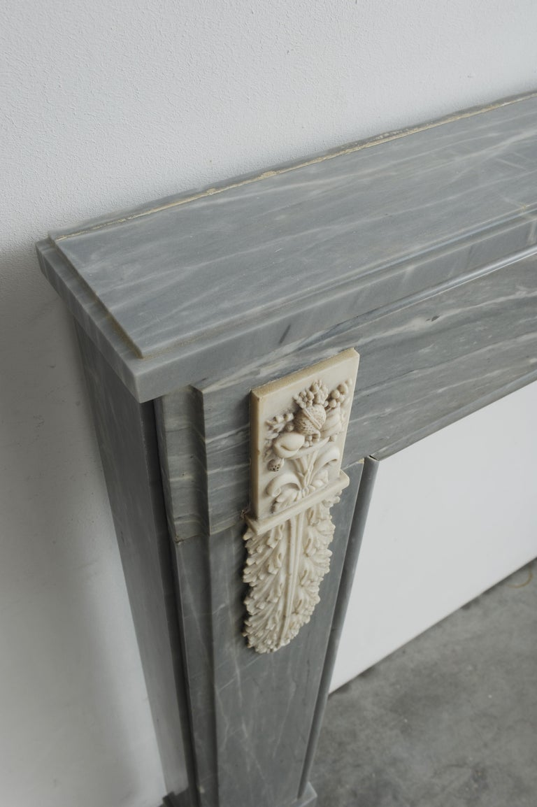 Grey Marble Louis XVI Fireplace Mantel For Sale 10