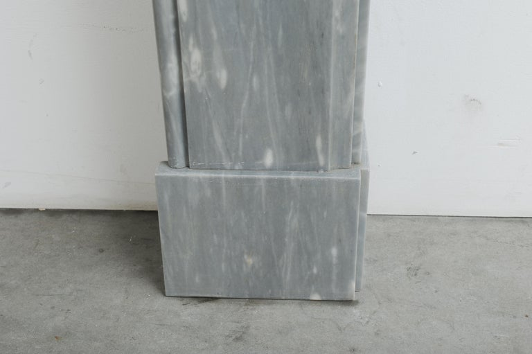 Grey Marble Louis XVI Fireplace Mantel For Sale 14
