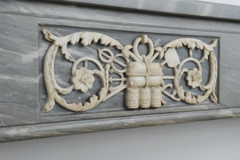 Dutch Grey Marble Louis XVI Fireplace Mantel For Sale