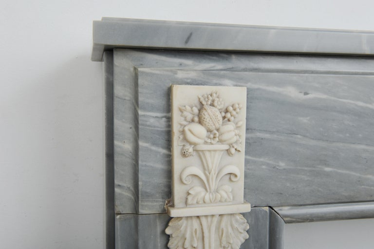 19th Century Grey Marble Louis XVI Fireplace Mantel For Sale