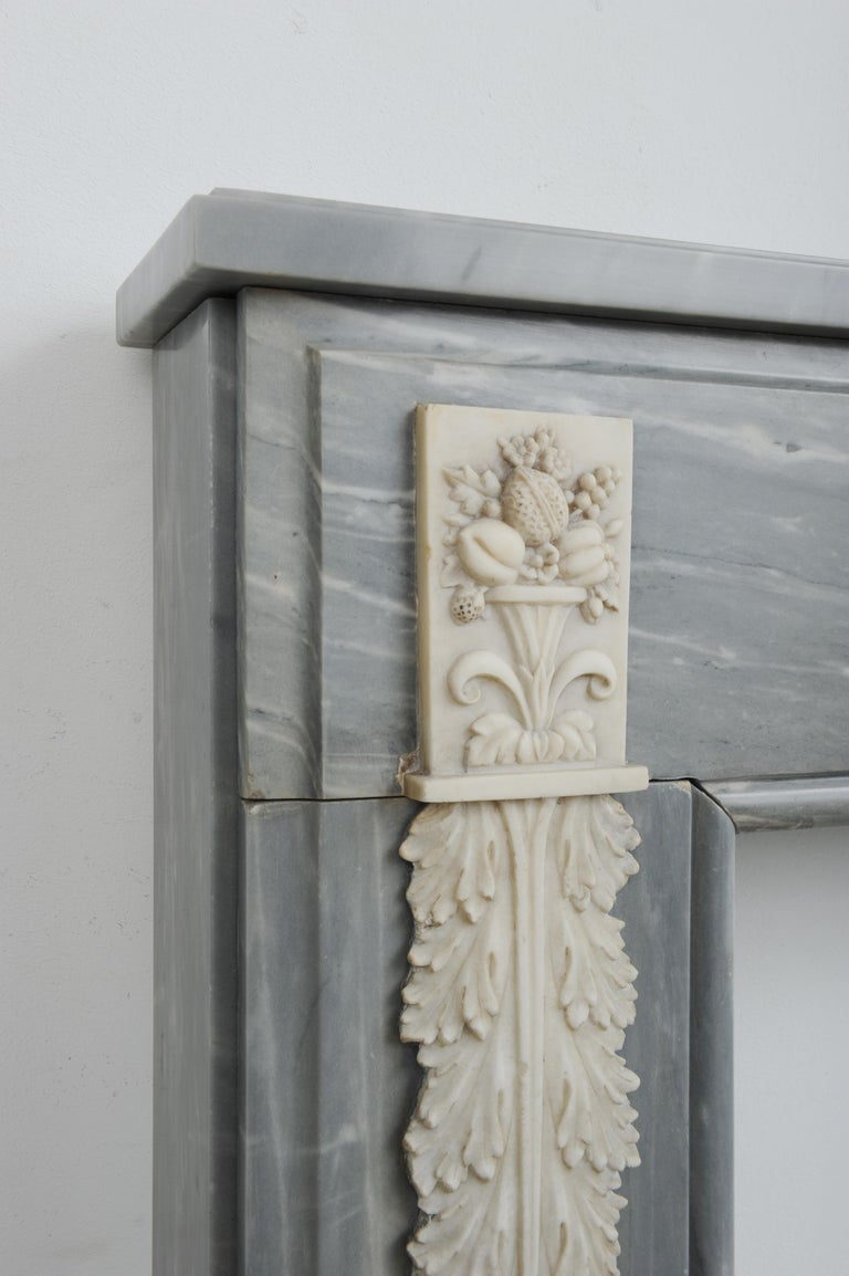 Grey Marble Louis XVI Fireplace Mantel For Sale 1