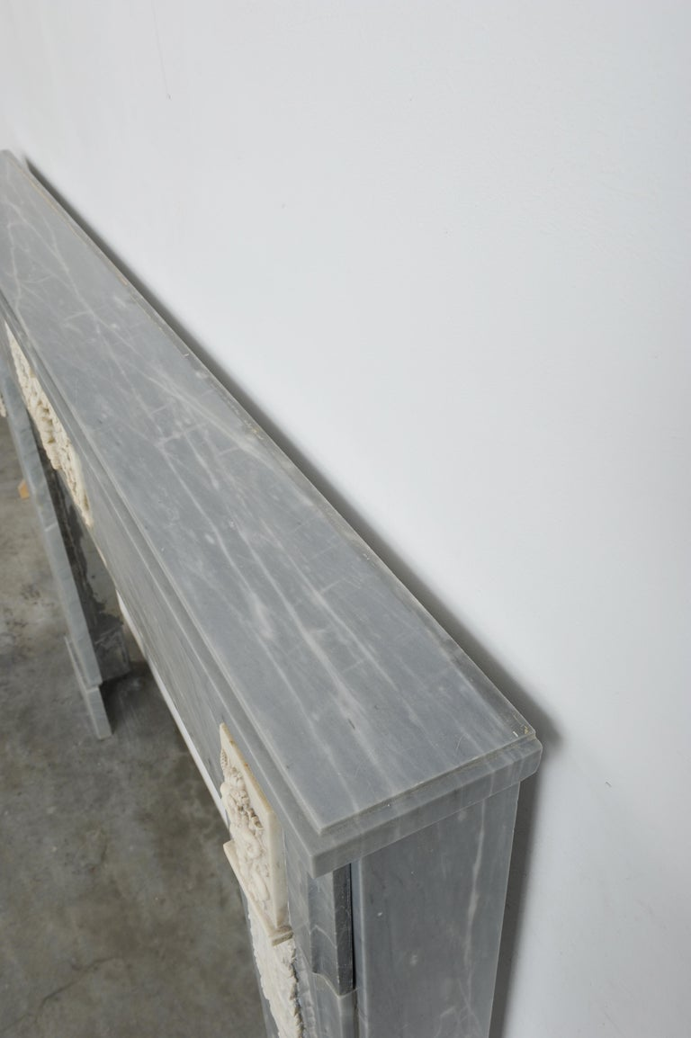Grey Marble Louis XVI Fireplace Mantel For Sale 2