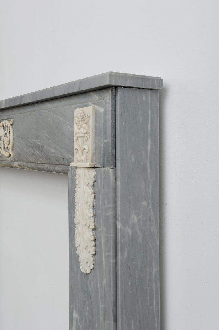 Grey Marble Louis XVI Fireplace Mantel For Sale 3