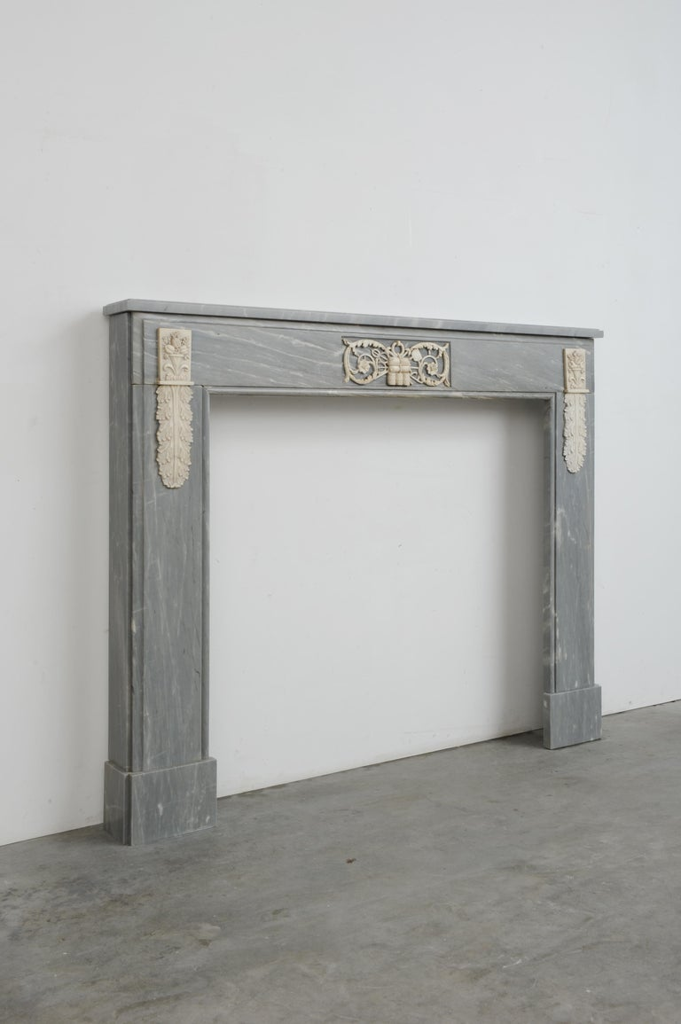 Grey Marble Louis XVI Fireplace Mantel For Sale 4