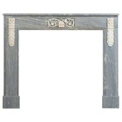 Grey Marble Louis XVI Fireplace Mantel