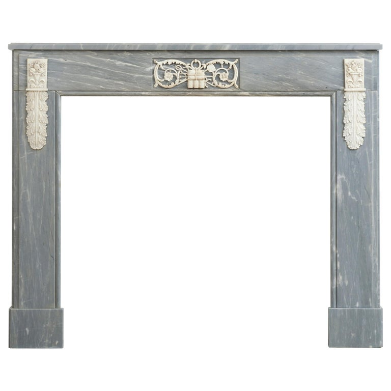 Grey Marble Louis XVI Fireplace Mantel For Sale