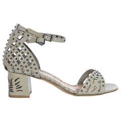 Marchesa Grey Kelly Patent Leather Embellished Sandals